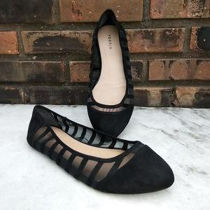 Torrid Black Stripe Mesh Wide Width Flat Shoes